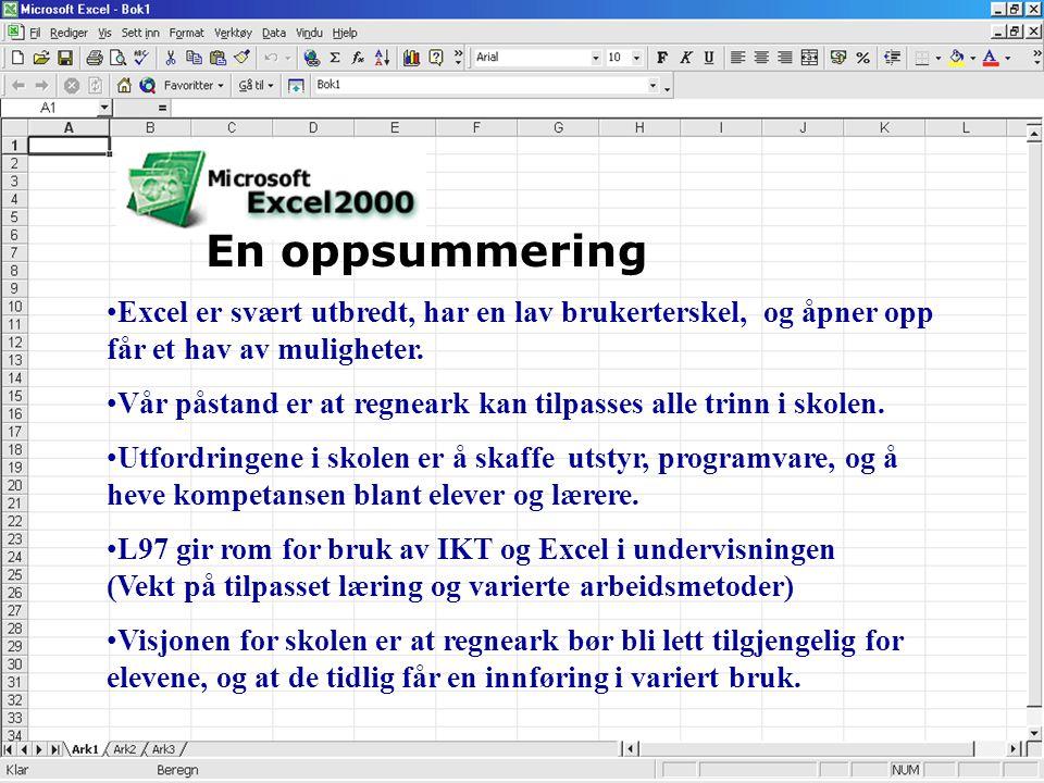 En oppsummering Excel er svært utbredt, har en lav brukerterskel, og åpner opp får et hav av muligheter.