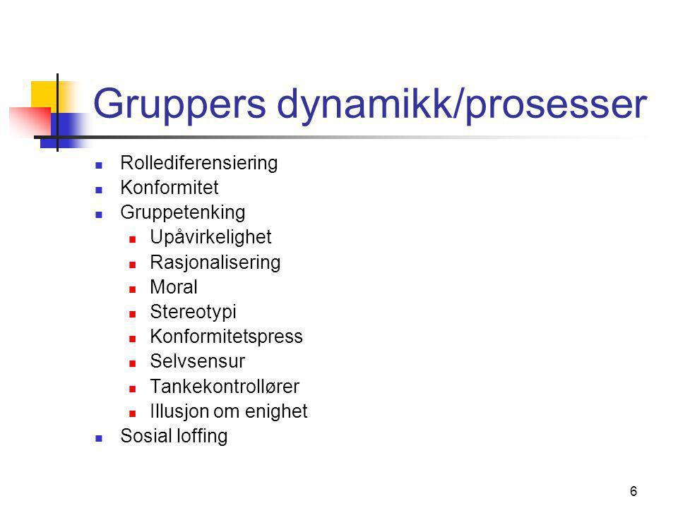 Gruppers dynamikk/prosesser