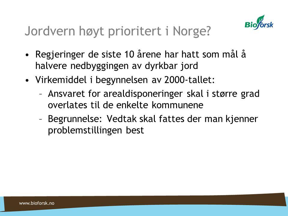 Jordvern høyt prioritert i Norge