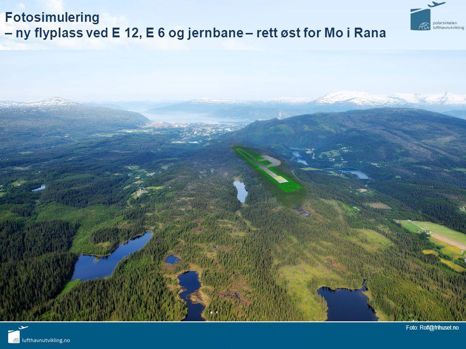 Fotosimulering – ny flyplass ved E 12, E 6 og jernbane – rett øst for Mo i Rana