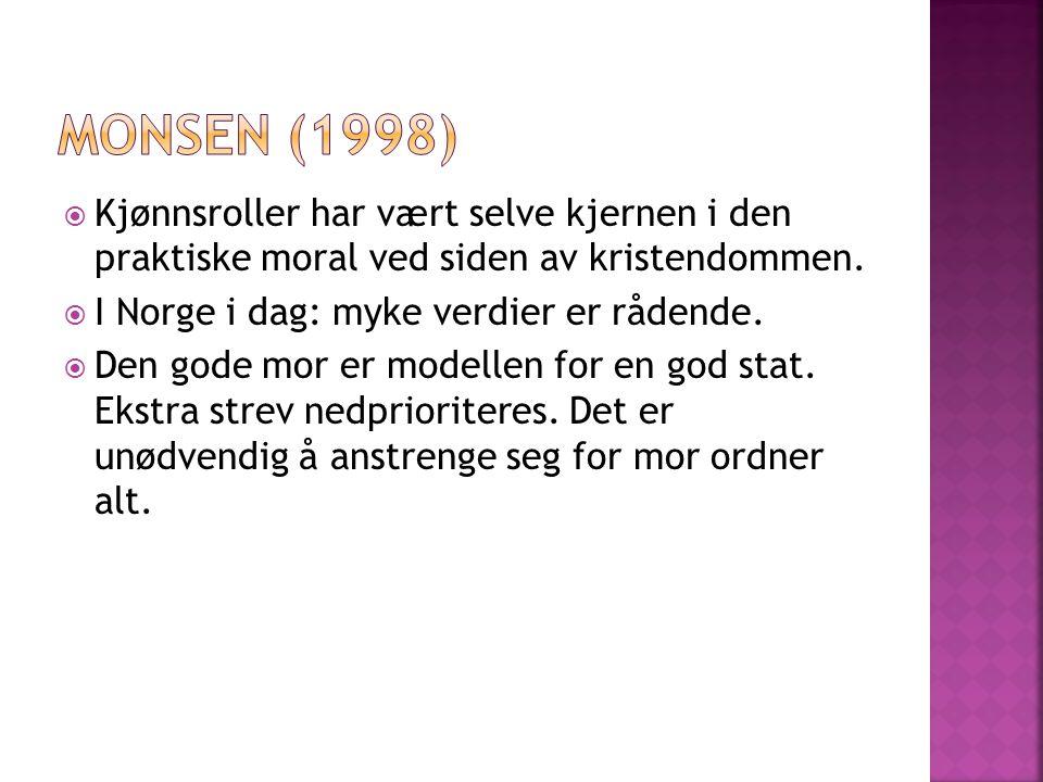 Monsen (1998) Kjønnsroller har vært selve kjernen i den praktiske moral ved siden av kristendommen.