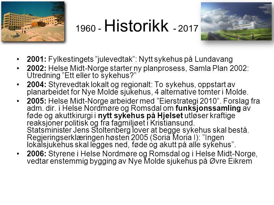 1960 - Historikk - 2017 2001: Fylkestingets julevedtak : Nytt sykehus på Lundavang.
