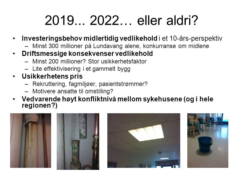 2019... 2022… eller aldri Investeringsbehov midlertidig vedlikehold i et 10-års-perspektiv.
