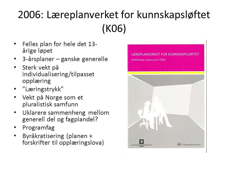 2006: Læreplanverket for kunnskapsløftet (K06)
