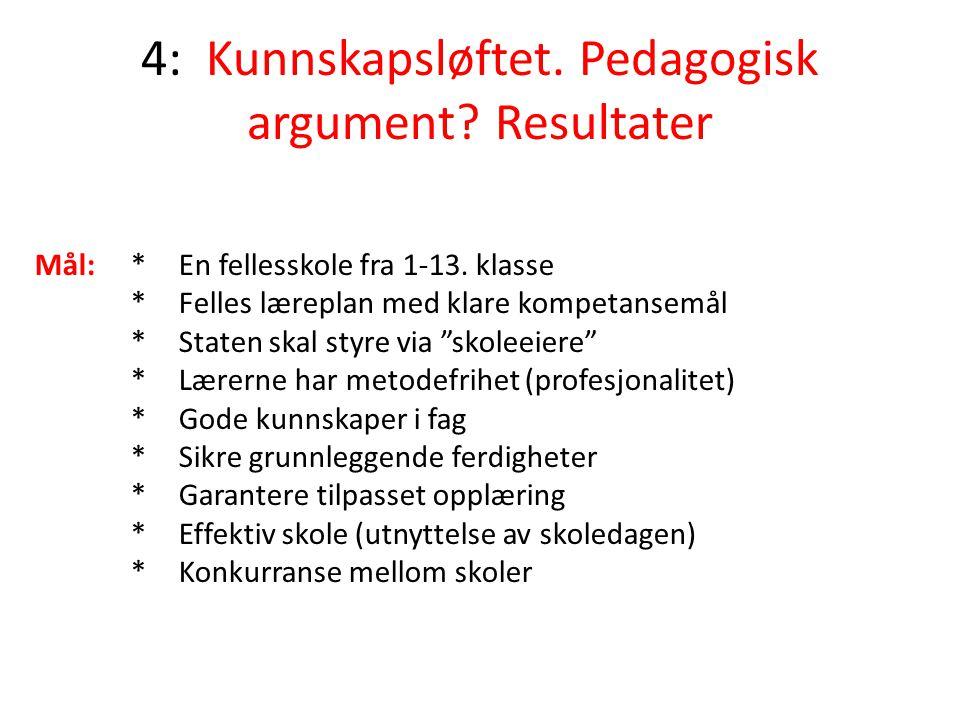 4: Kunnskapsløftet. Pedagogisk argument Resultater
