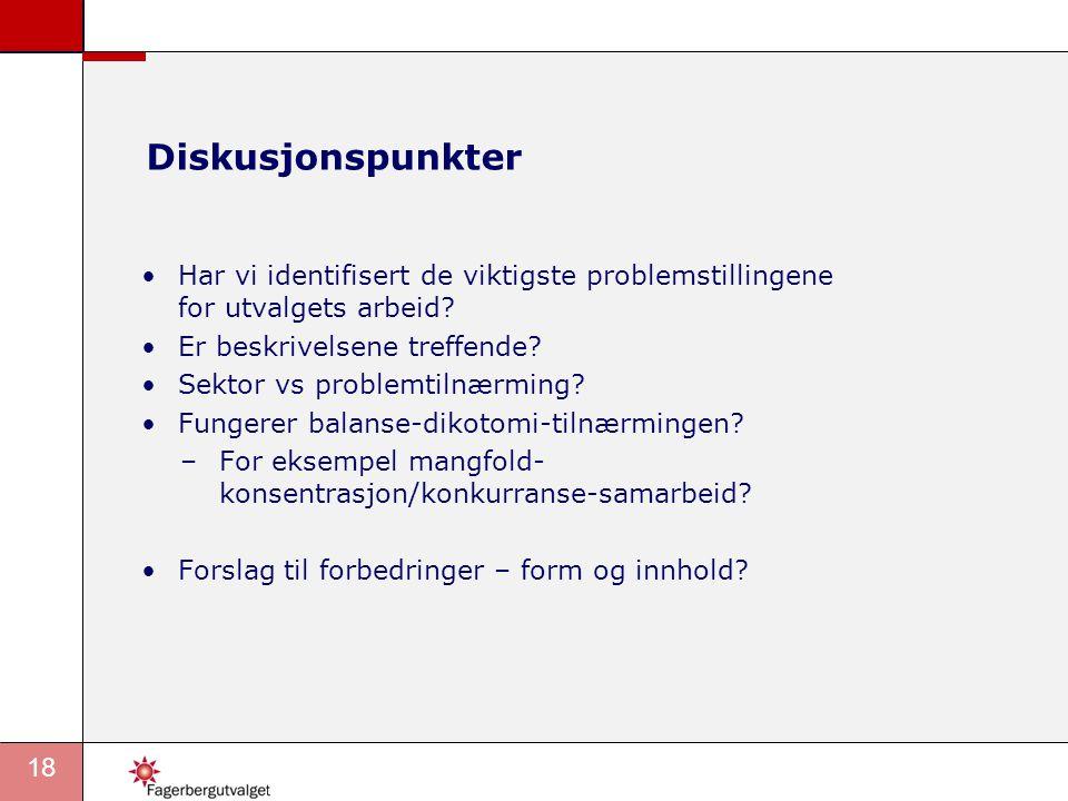 Diskusjonspunkter Har vi identifisert de viktigste problemstillingene for utvalgets arbeid Er beskrivelsene treffende