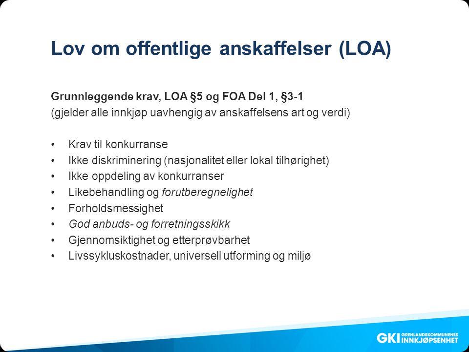 Lov om offentlige anskaffelser (LOA)