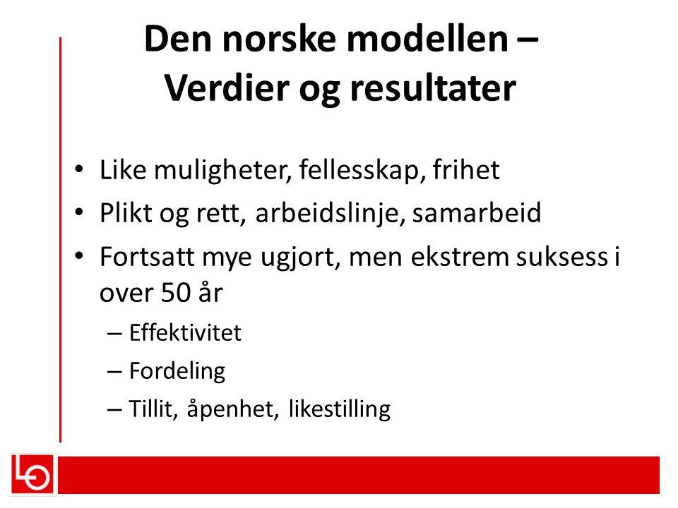Den norske modellen – Verdier og resultater