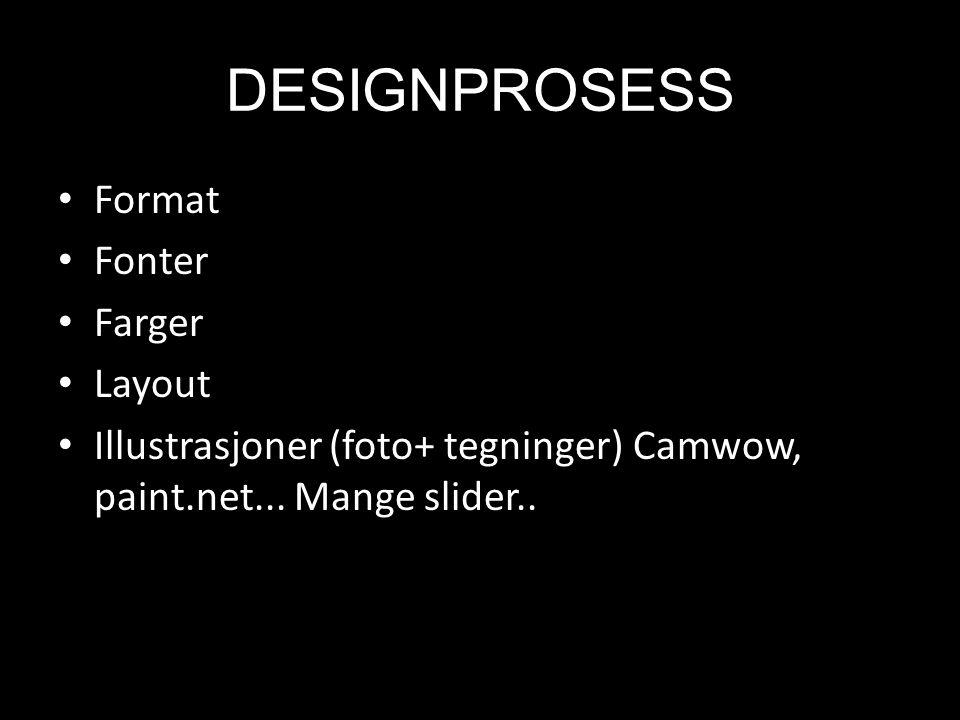 DESIGNPROSESS Format Fonter Farger Layout