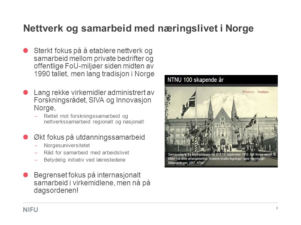 Nettverk og samarbeid med næringslivet i Norge