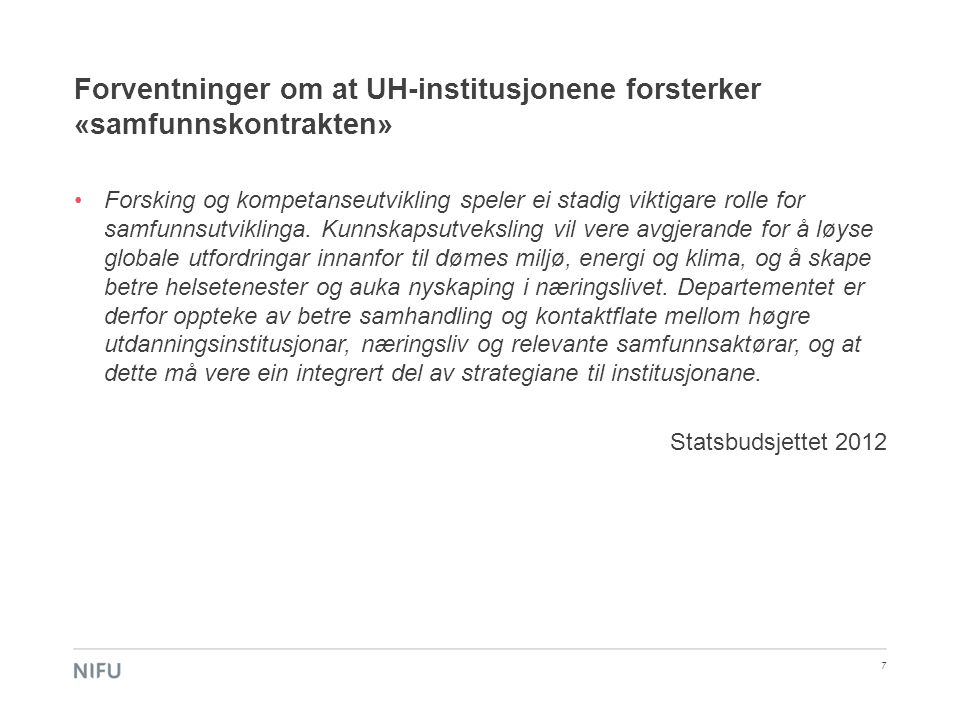 Forventninger om at UH-institusjonene forsterker «samfunnskontrakten»