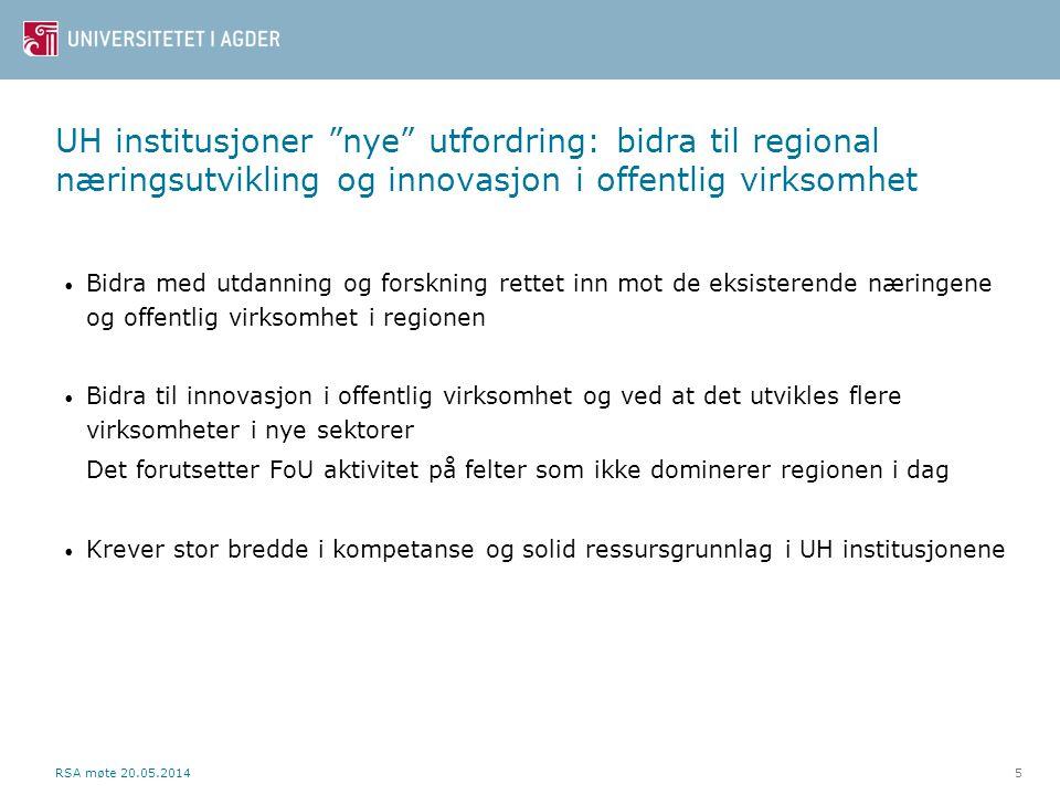 UH institusjoner nye utfordring: bidra til regional næringsutvikling og innovasjon i offentlig virksomhet