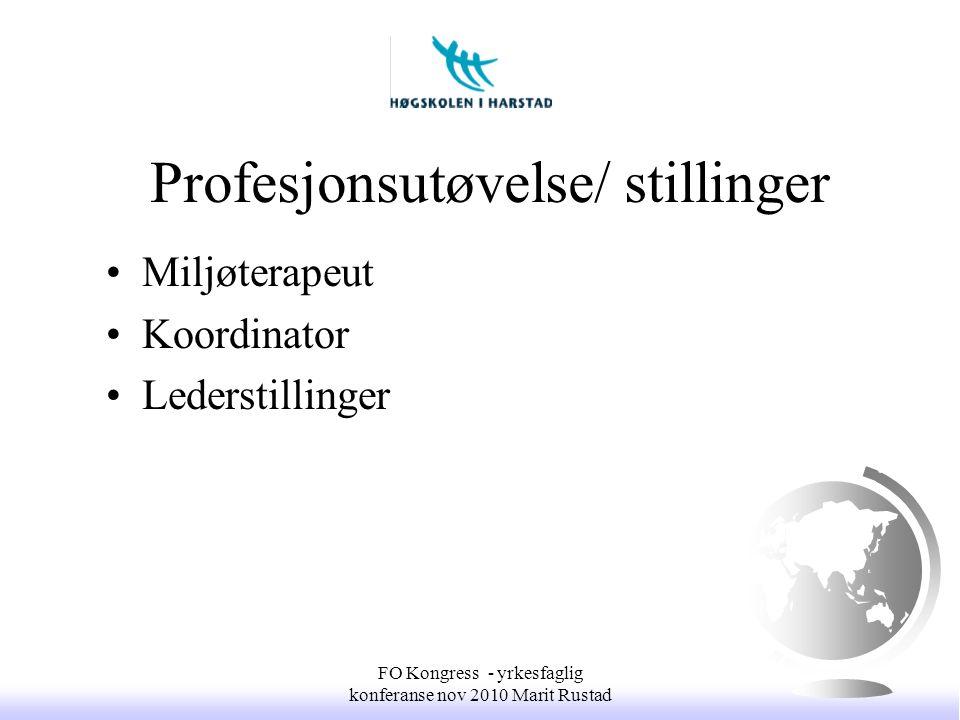 Profesjonsutøvelse/ stillinger