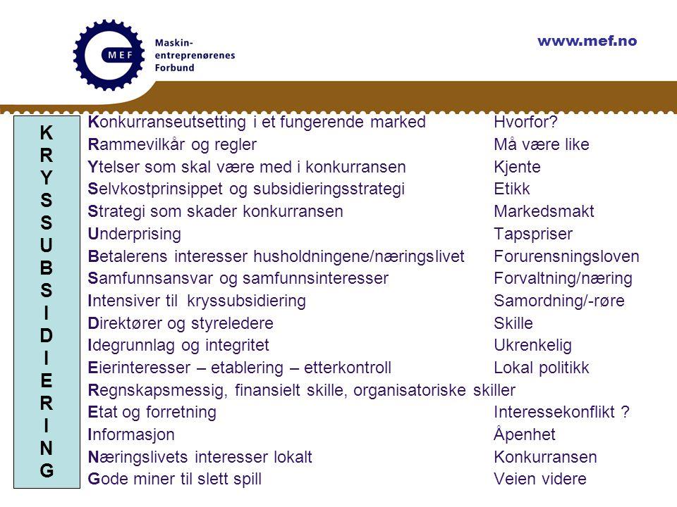 www.mef.no Konkurranseutsetting i et fungerende marked Hvorfor Rammevilkår og regler Må være like.