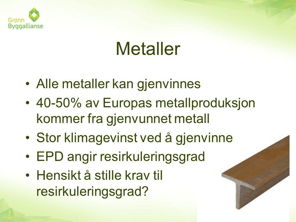 Metaller Alle metaller kan gjenvinnes