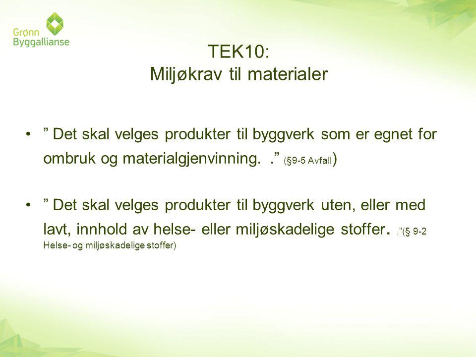 TEK10: Miljøkrav til materialer