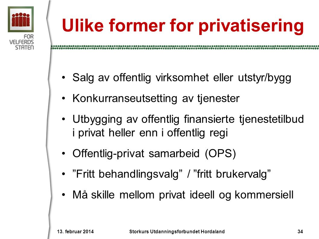 Ulike former for privatisering