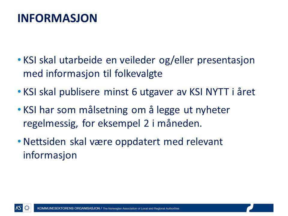 INFORMASJON KSI skal utarbeide en veileder og/eller presentasjon med informasjon til folkevalgte.