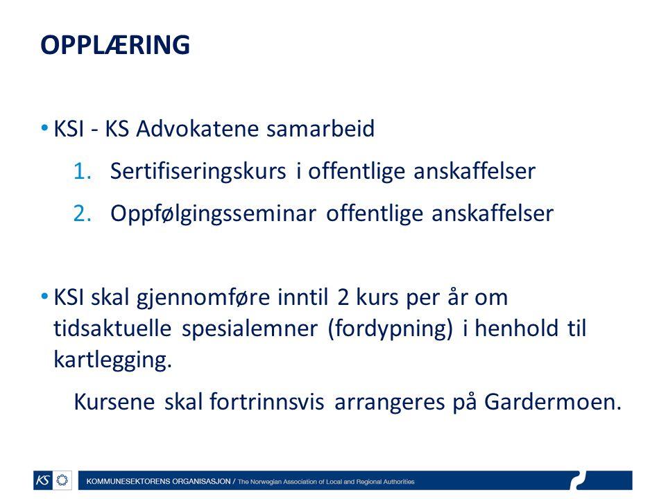 OPPLÆRING KSI - KS Advokatene samarbeid
