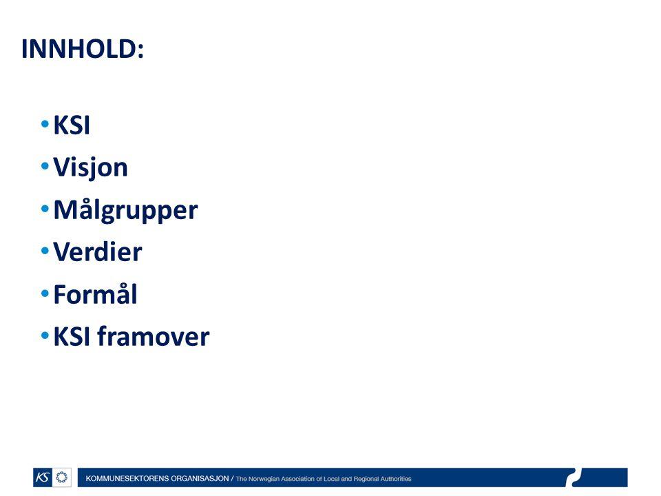 INNHOLD: KSI Visjon Målgrupper Verdier Formål KSI framover