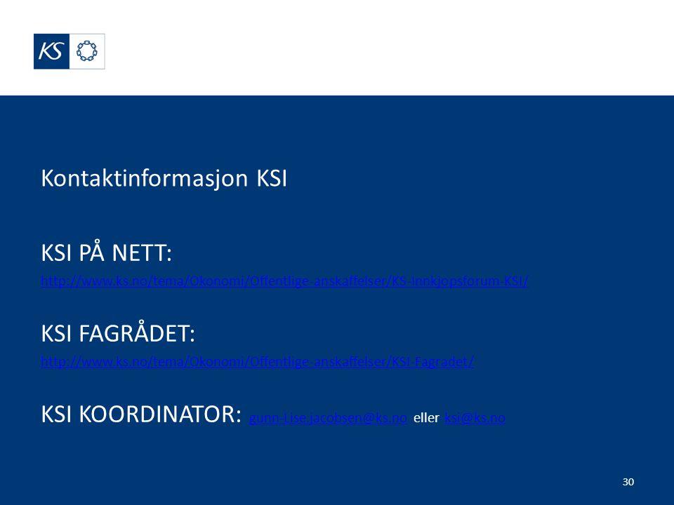 Kontaktinformasjon KSI