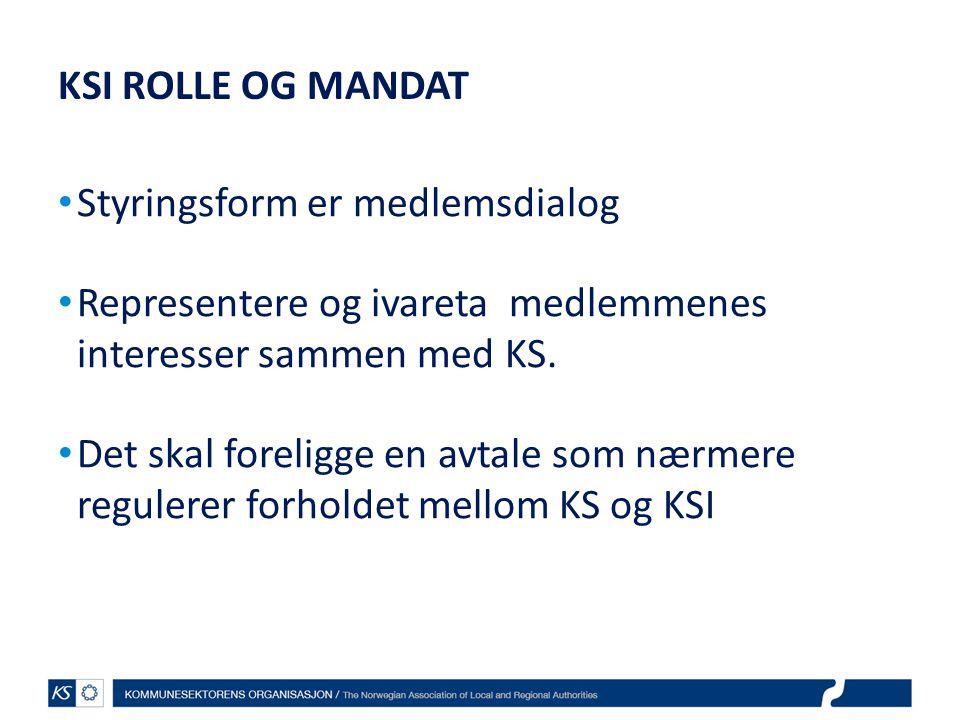 KSI ROLLE OG MANDAT Styringsform er medlemsdialog. Representere og ivareta medlemmenes interesser sammen med KS.
