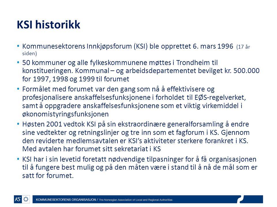 KSI historikk Kommunesektorens Innkjøpsforum (KSI) ble opprettet 6. mars 1996 (17 år siden)