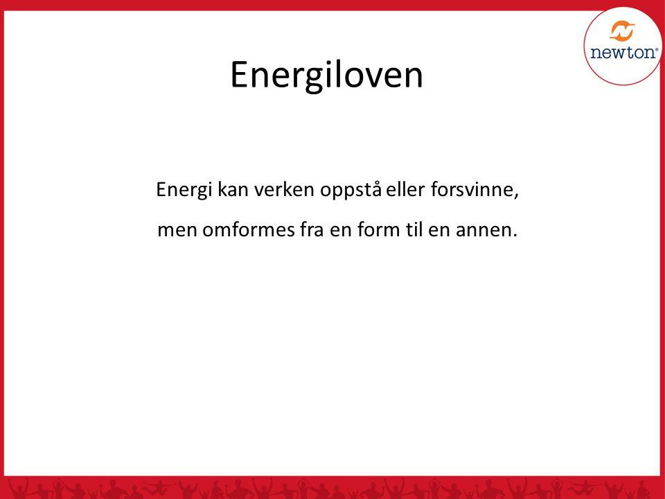 Energiloven Energi kan verken oppstå eller forsvinne,