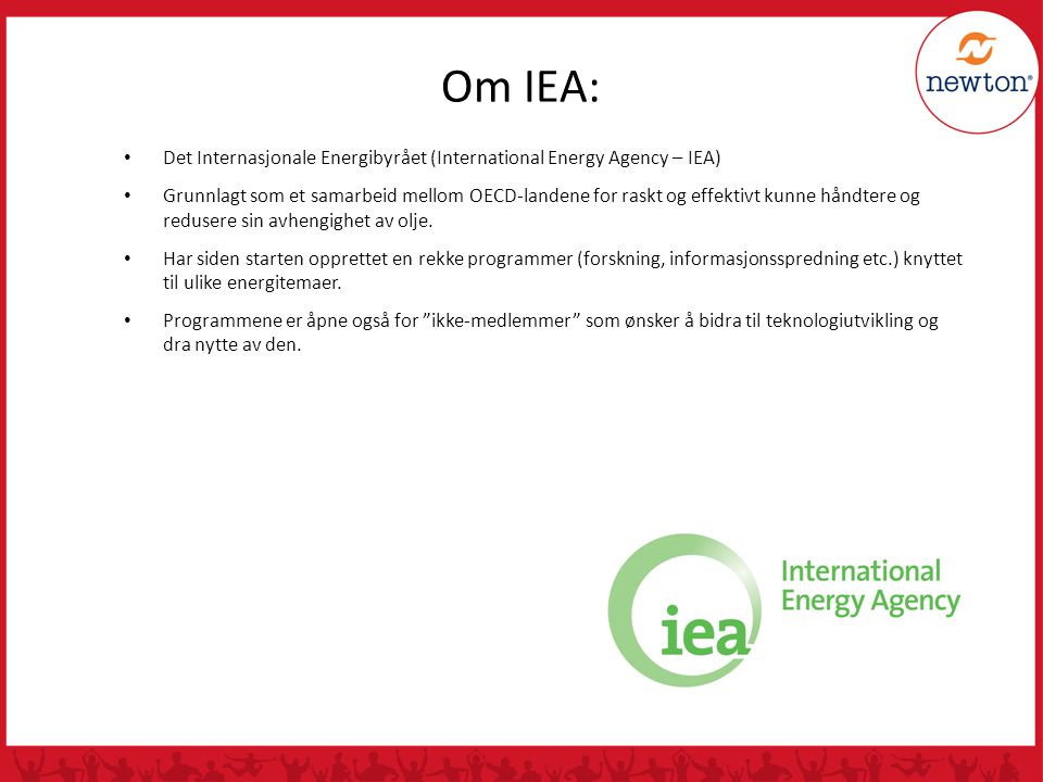 Om IEA: Det Internasjonale Energibyrået (International Energy Agency – IEA)