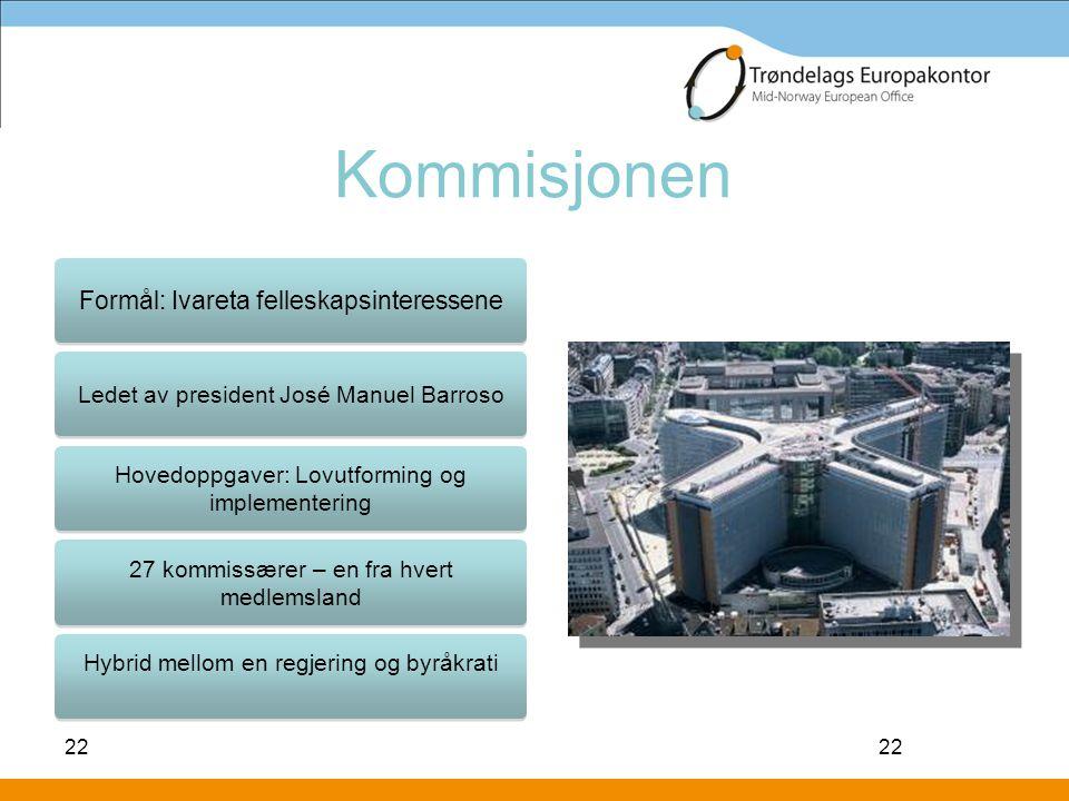 Kommisjonen Formål: Ivareta felleskapsinteressene