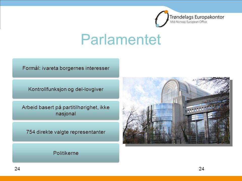 Parlamentet Formål: ivareta borgernes interesser
