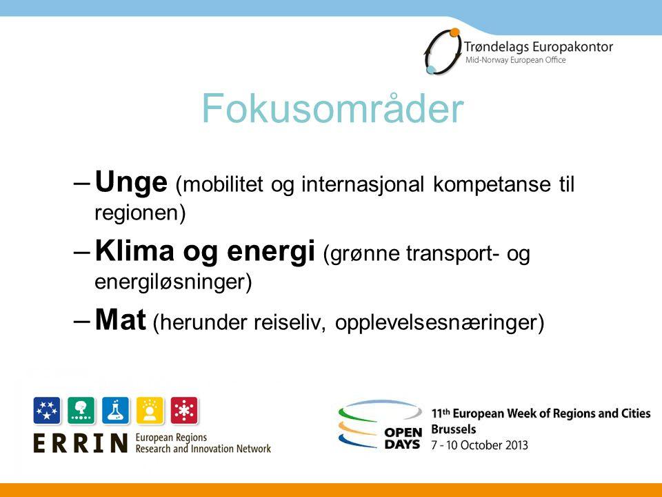 Fokusområder Unge (mobilitet og internasjonal kompetanse til regionen)
