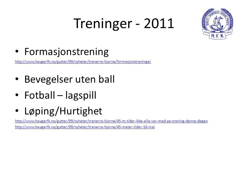 Treninger - 2011 Formasjonstrening Bevegelser uten ball