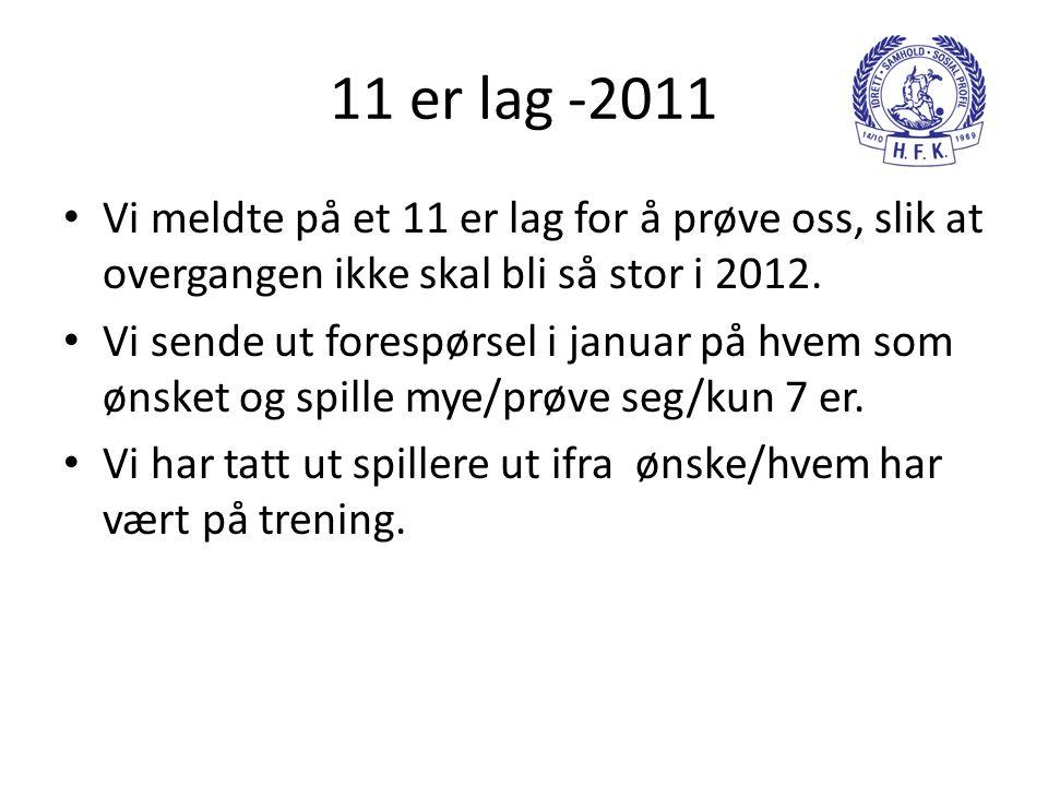 11 er lag -2011 Vi meldte på et 11 er lag for å prøve oss, slik at overgangen ikke skal bli så stor i 2012.