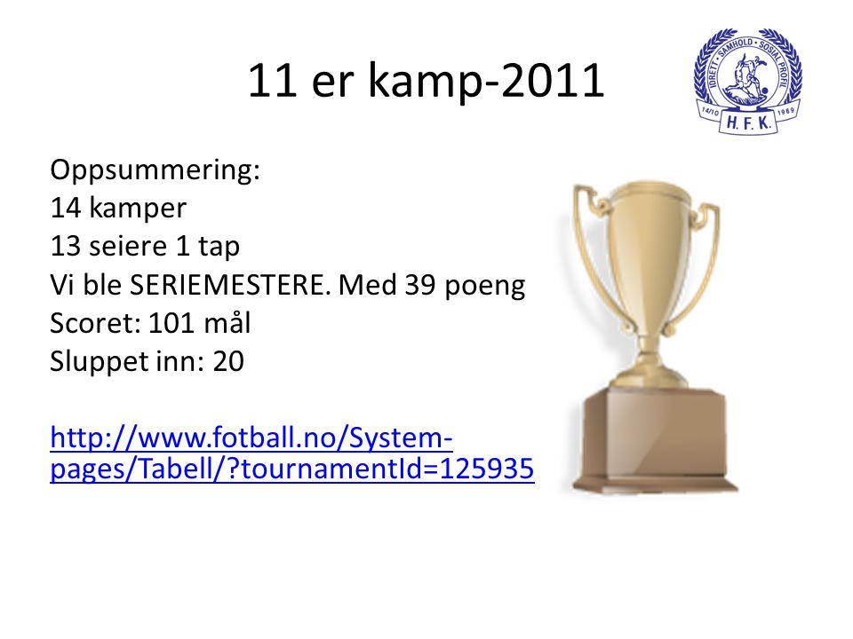 11 er kamp-2011 Oppsummering: 14 kamper 13 seiere 1 tap