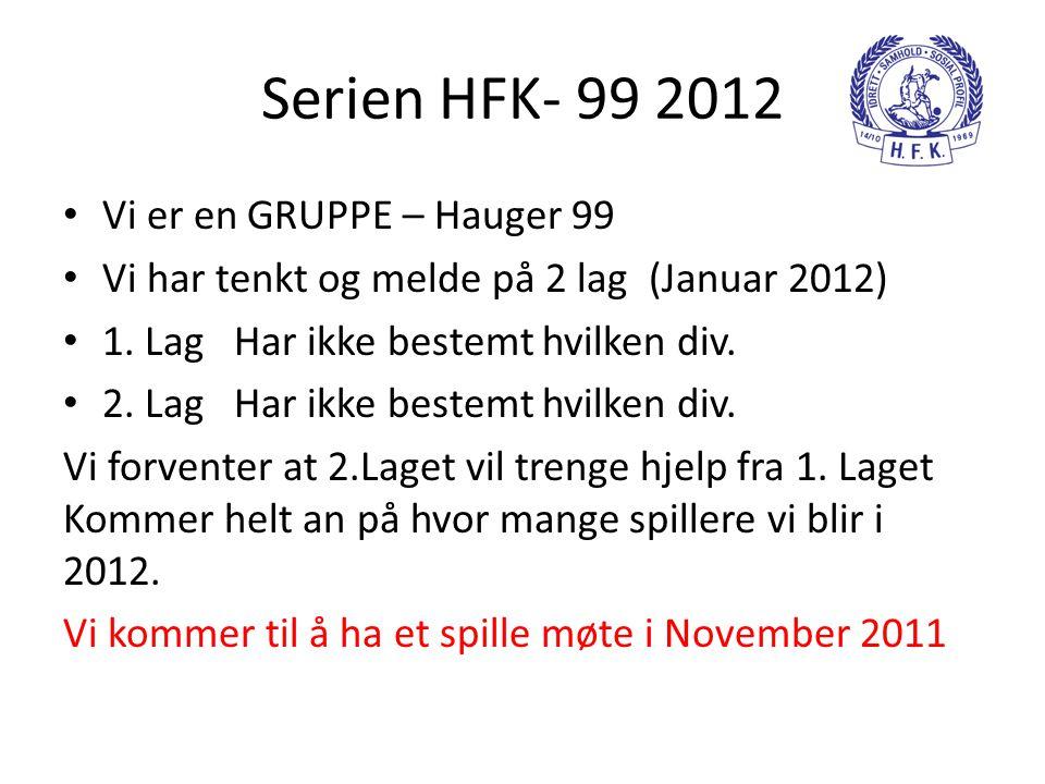 Serien HFK- 99 2012 Vi er en GRUPPE – Hauger 99
