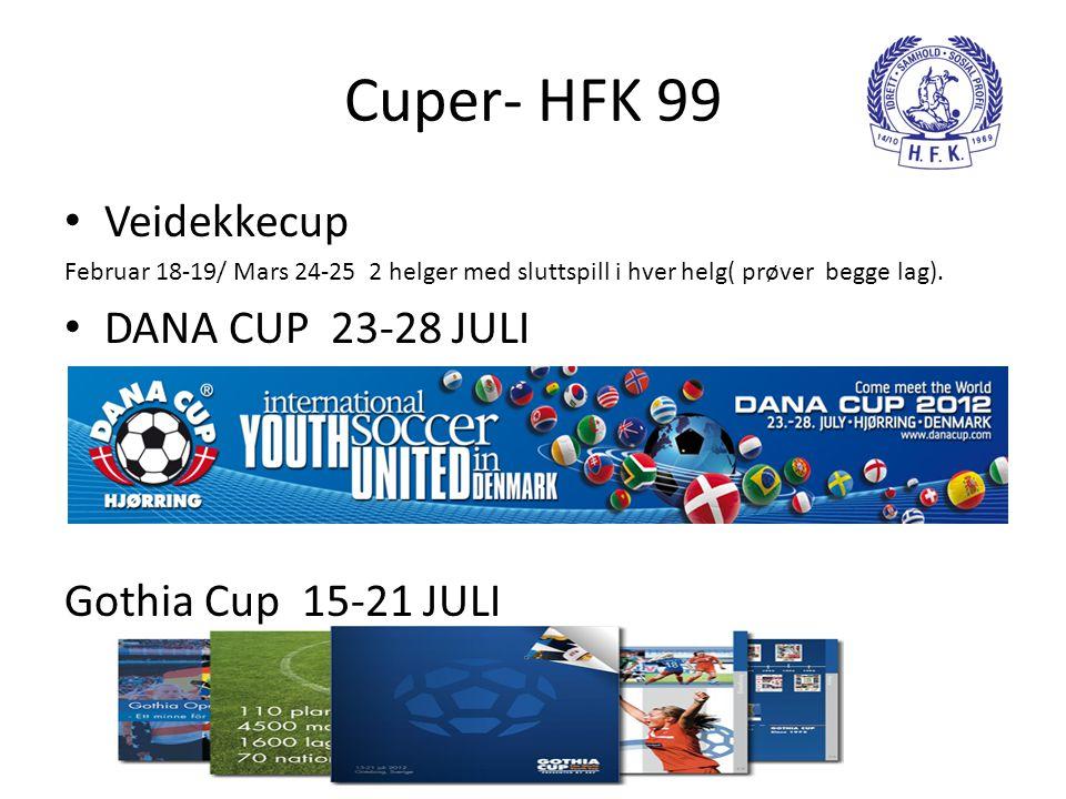 Cuper- HFK 99 Veidekkecup DANA CUP 23-28 JULI Gothia Cup 15-21 JULI