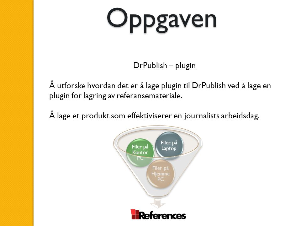 Oppgaven DrPublish – plugin