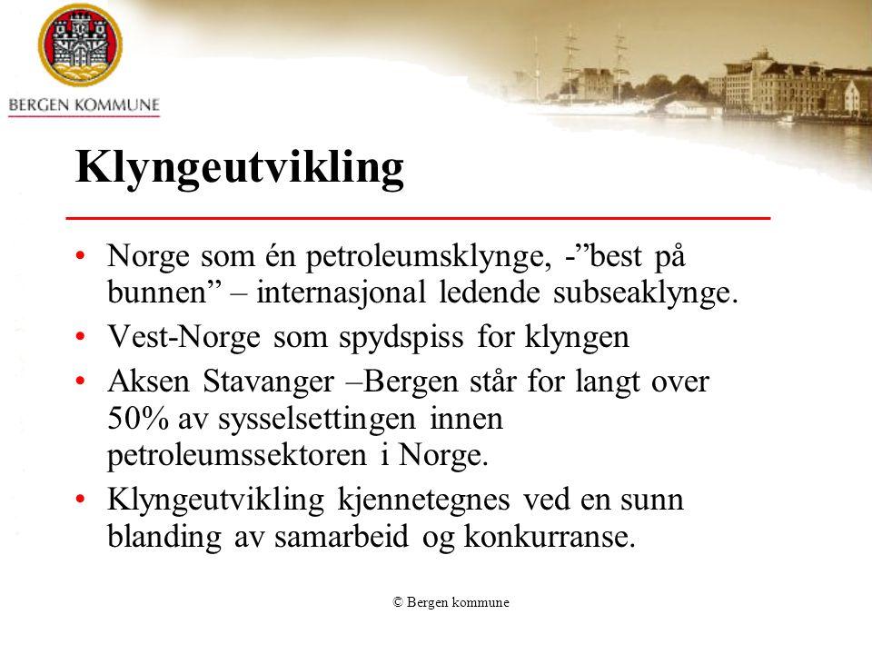 Klyngeutvikling Norge som én petroleumsklynge, - best på bunnen – internasjonal ledende subseaklynge.