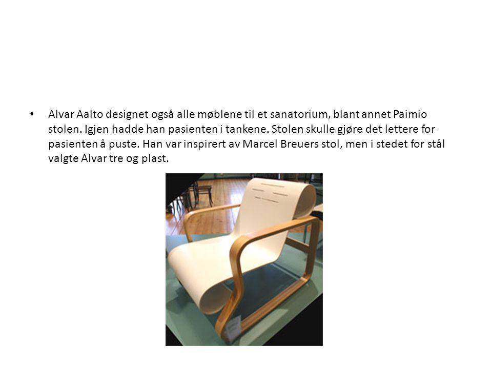 Alvar Aalto designet også alle møblene til et sanatorium, blant annet Paimio stolen.