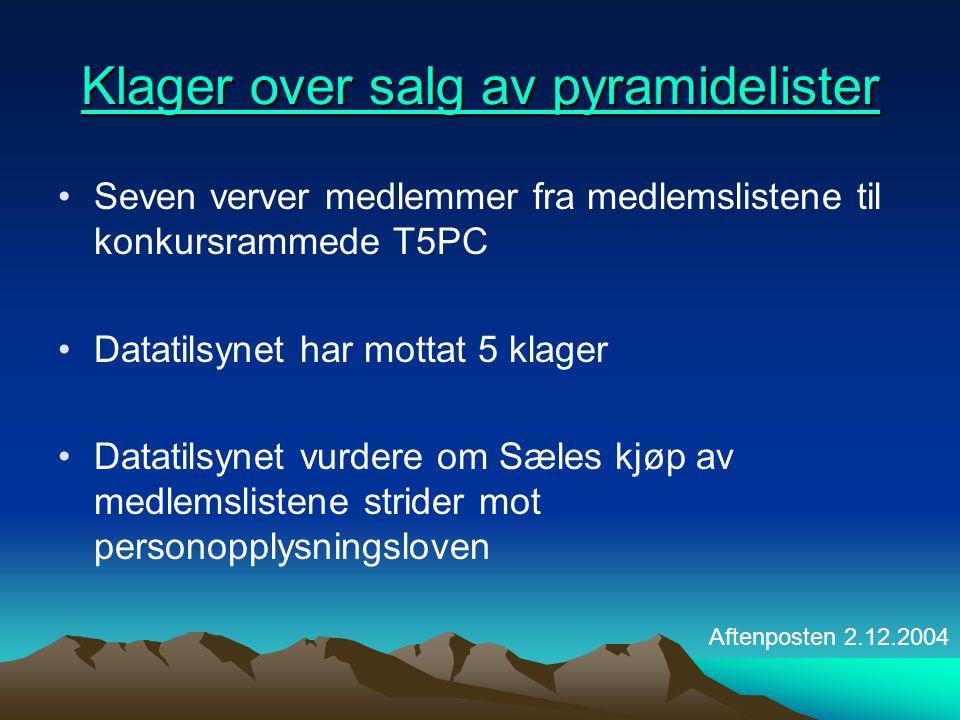 Klager over salg av pyramidelister