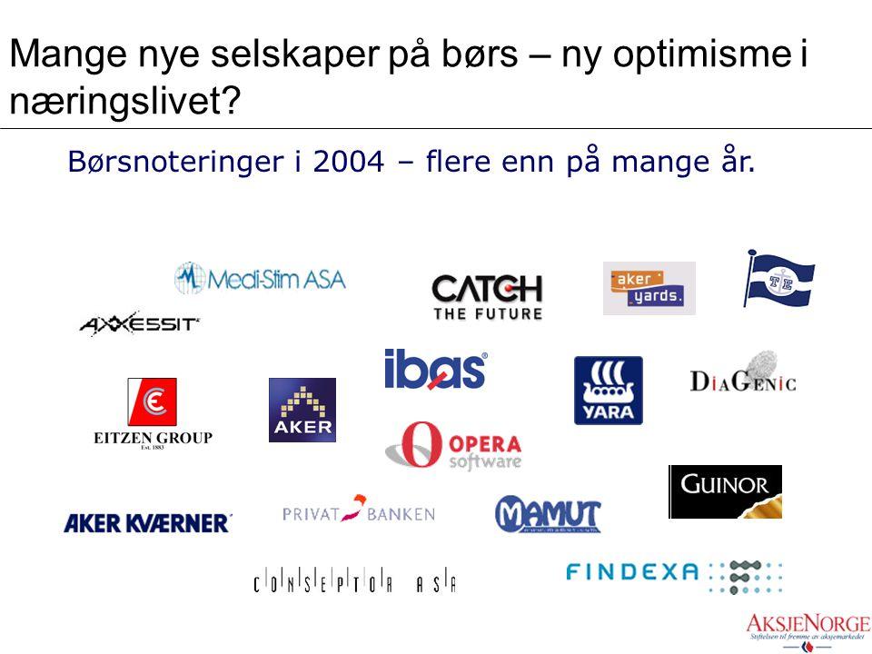 Mange nye selskaper på børs – ny optimisme i næringslivet