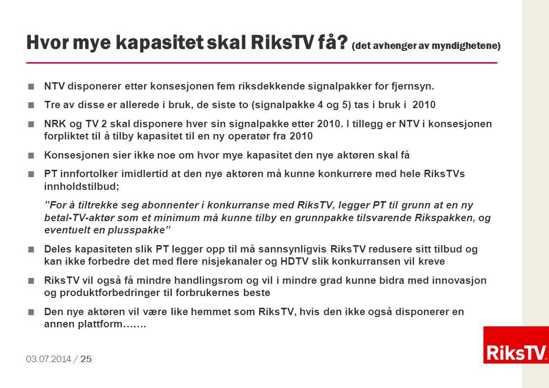 Hvor mye kapasitet skal RiksTV få (det avhenger av myndighetene)