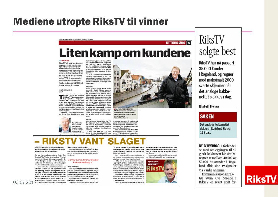 Mediene utropte RiksTV til vinner