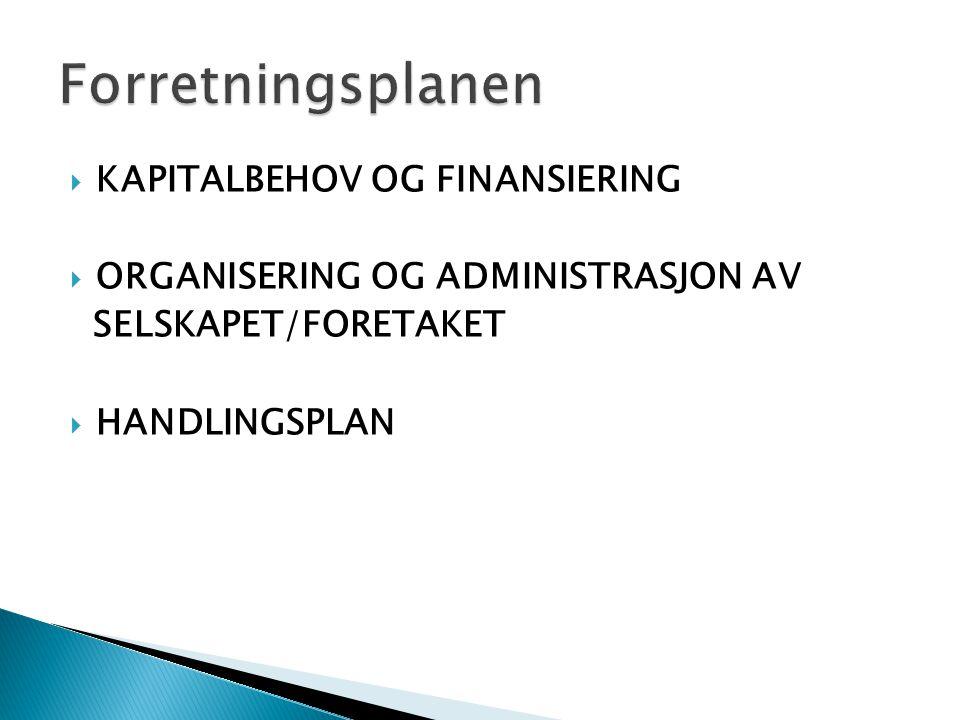 Forretningsplanen Kapitalbehov og finansiering