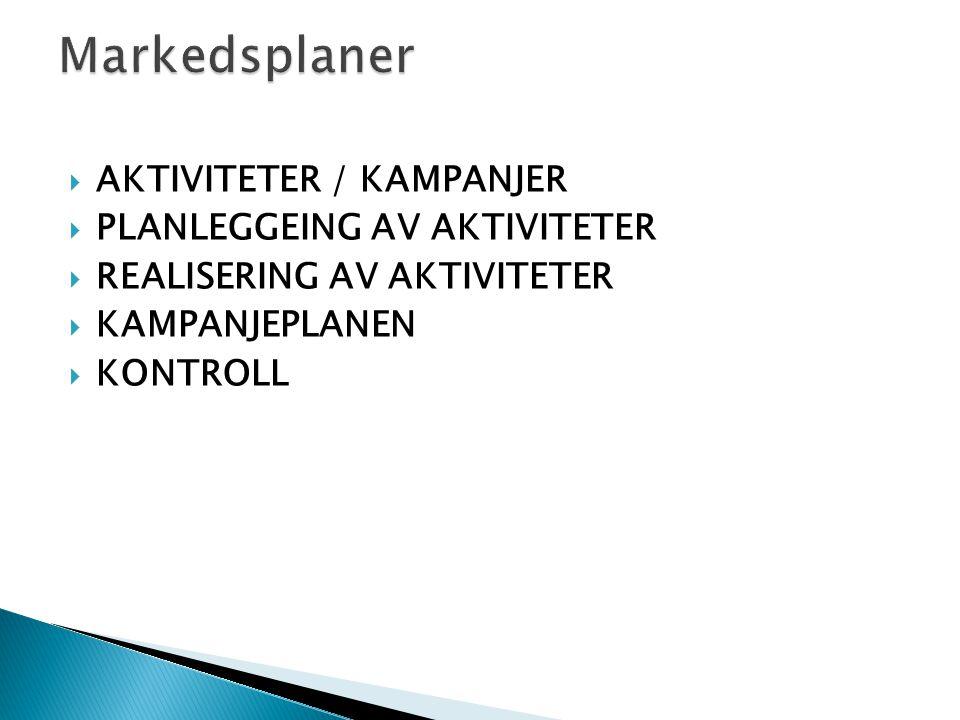 Markedsplaner AKTIVITETER / KAMPANJER PLANLEGGEING AV AKTIVITETER