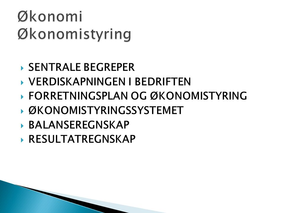 Økonomi Økonomistyring