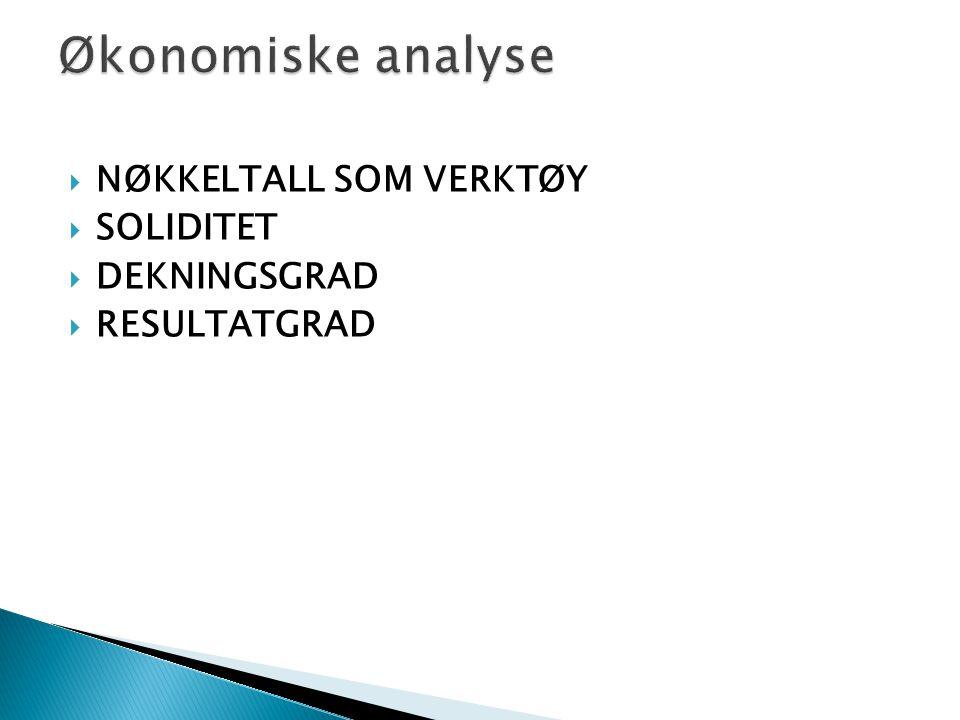 Økonomiske analyse NØKKELTALL SOM VERKTØY SOLIDITET DEKNINGSGRAD