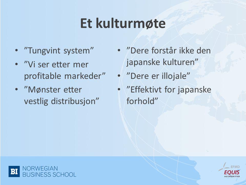 Et kulturmøte Tungvint system Vi ser etter mer profitable markeder