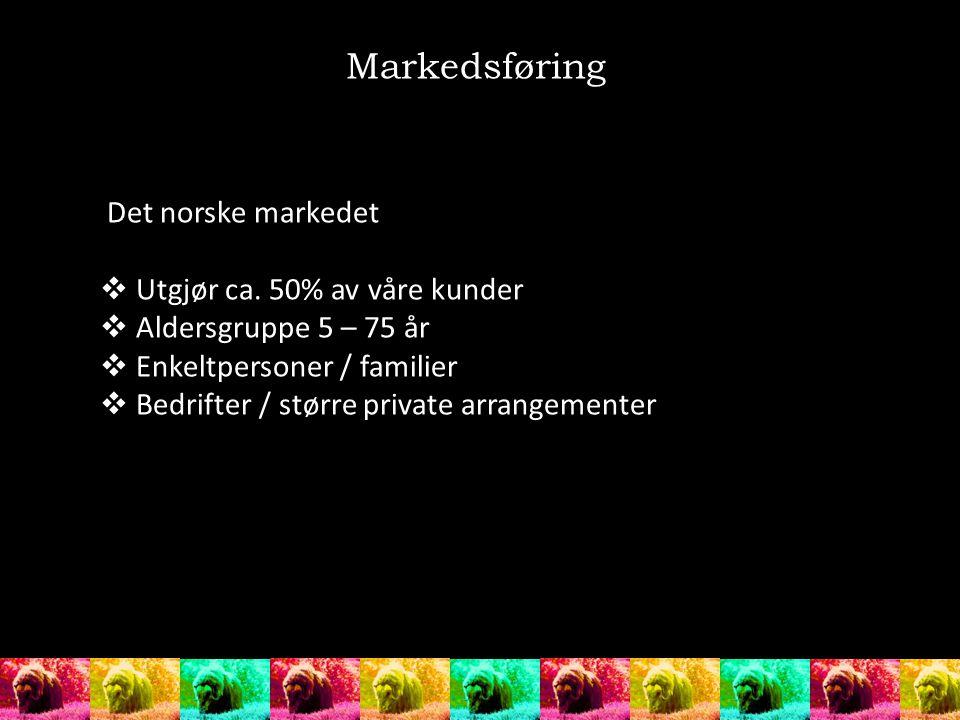 Markedsføring Det norske markedet Utgjør ca. 50% av våre kunder